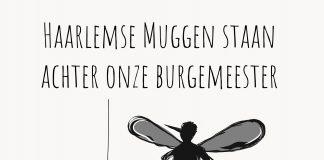 Cartoon Haarlemse Muggen achter burgemeester. Haarlemsemuggen.nl.