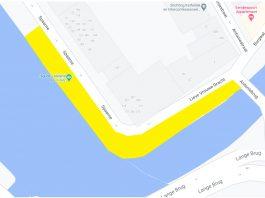 In het geel gemarkeerde gebied geldt het alcoholverbod.